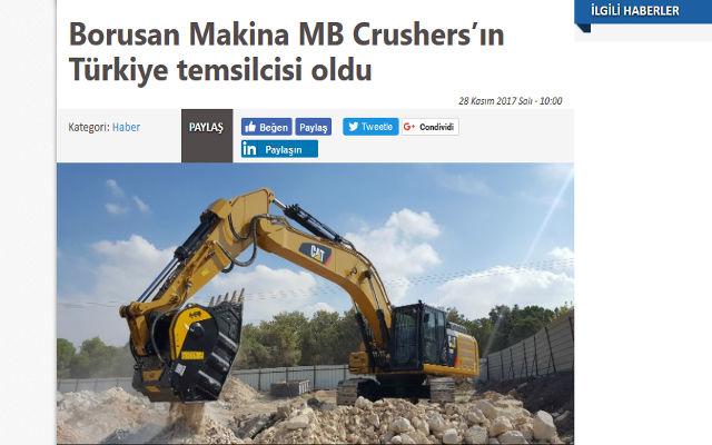 Borusan Makina MB Crushers'ın Türkiye temsilcisi oldu