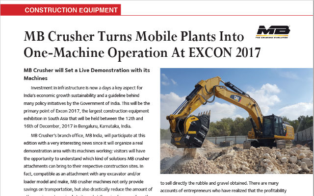 MB Crusher Turns Mobile Plants Into One-Machine Operation At EXCON 2017