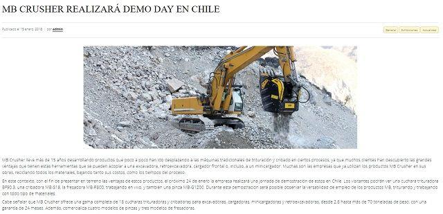 MB CRUSHER REALIZARÁ DEMO DAY EN CHILE