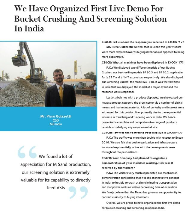 We Have Organized First Live Demo For Bucket Crushing And Screening Solution In India