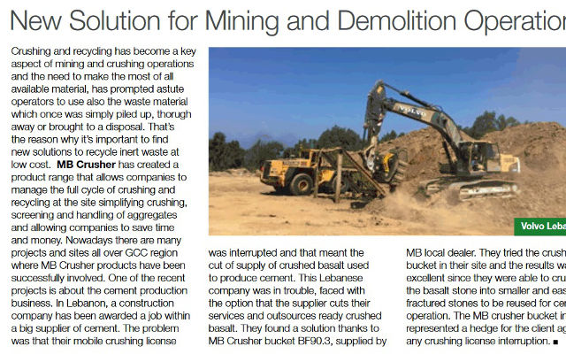 New Solution for Mining and Demolition Operations