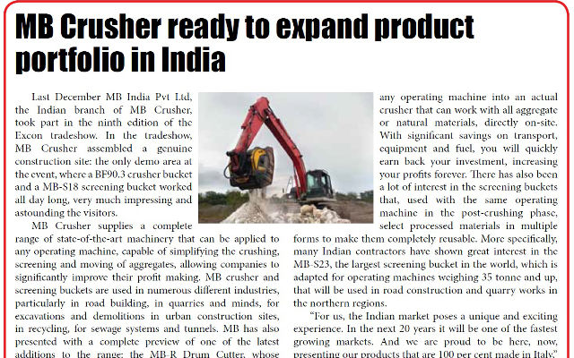 MB Crusher ready to expand product portfolio in India