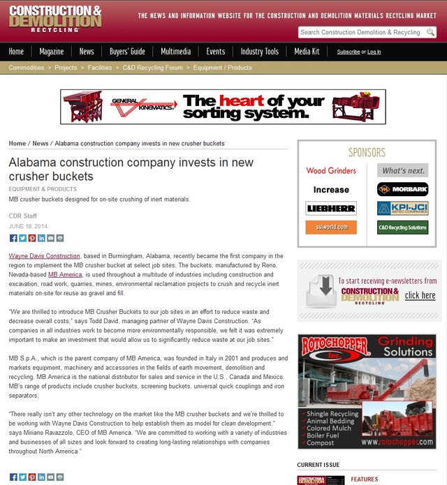 News - Alabama construction company invests in new crusher buckets