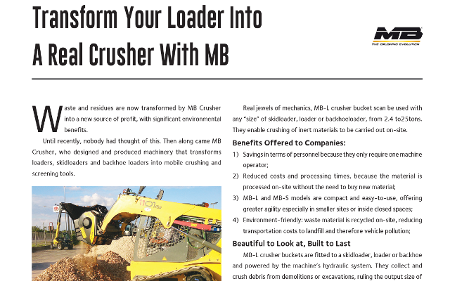 Transform Your Loader Into A Real Crusher With MB