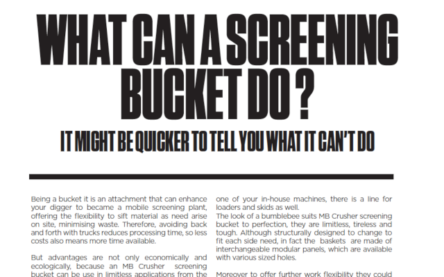 WHAT CAN A SCREENING BUCKET DO ?