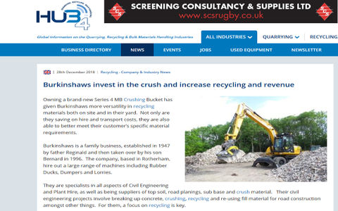 ''Burkinshaws are delighted with their new crushing bucket.  For them the benefits are clear.''