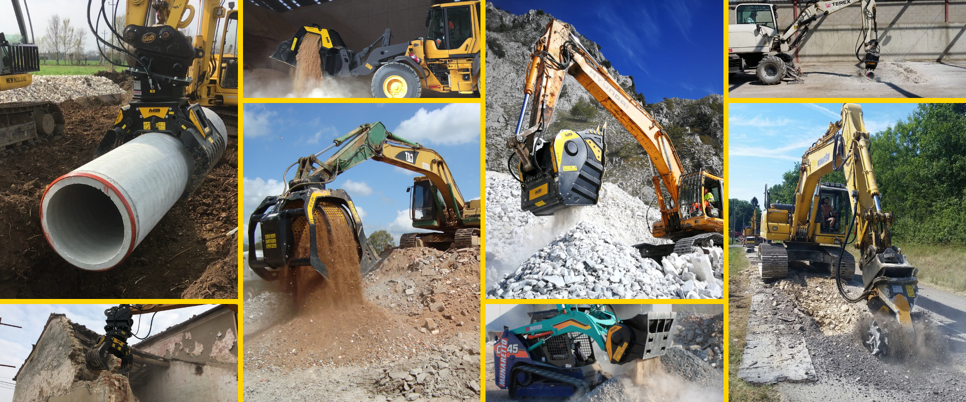 See MB Crusher buckets, screening buckets, drum cutters and grapples in action!