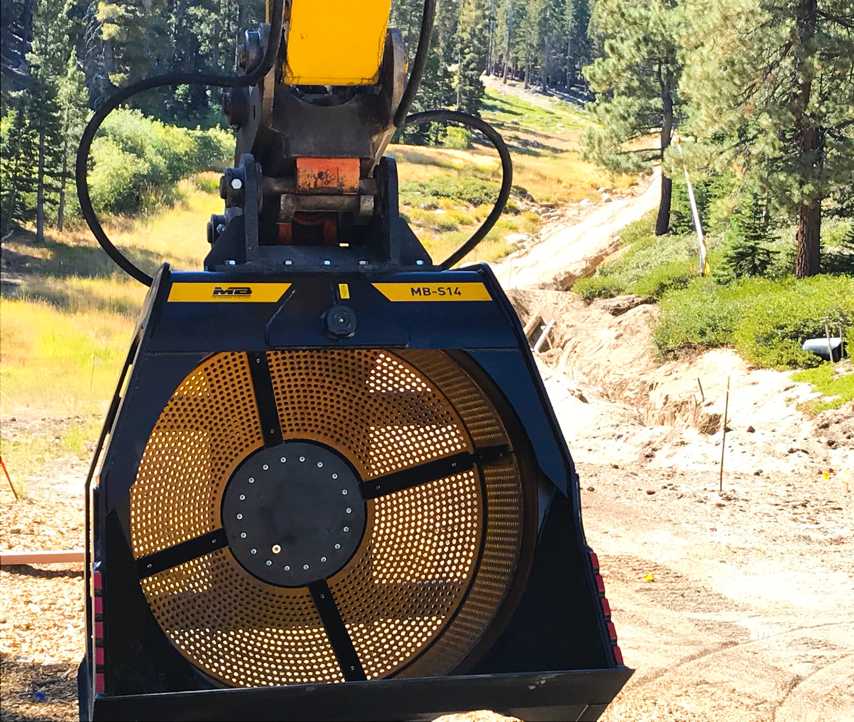 MB-S14 Screener bucket working on a ski resort in Heavenly Mountain