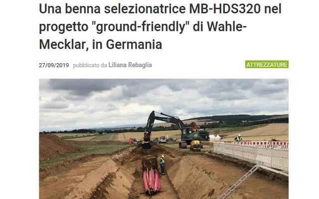 """Una benna selezionatrice MB-HDS320 nel progetto """"ground-friendly"""" di Wahle-Mecklar, in Germania"""