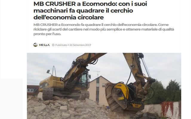 MB CRUSHER a Ecomondo: con i suoi macchinari fa quadrare il cerchio dell'economia circolare