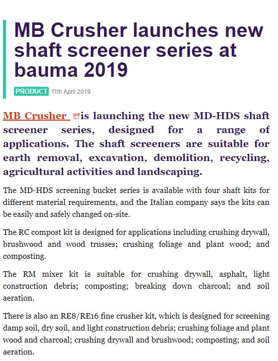 MB Crusher launches new shaft screener series at Bauma 2019