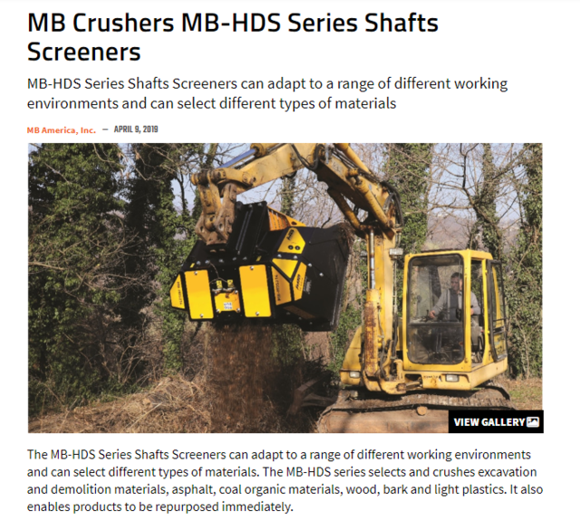 MB Crusher's MB-HDS Series Shafts Screeners