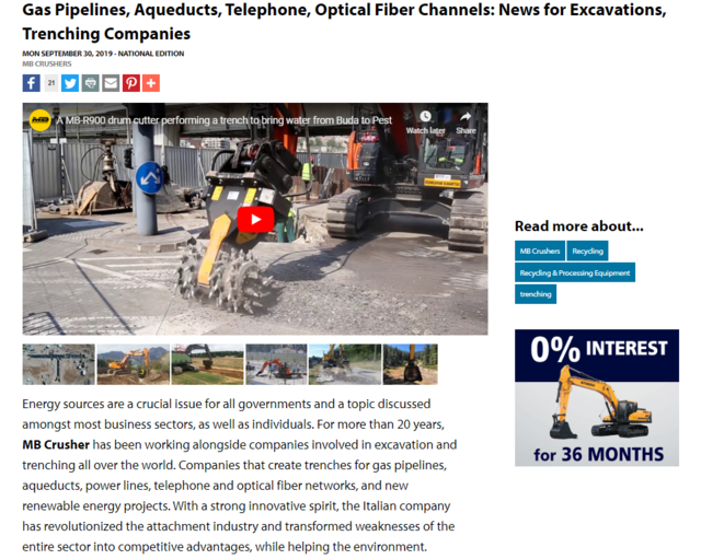 Gas Pipelines, Aqueducts, Telephone, Optical Fiber Channels: News for Excavations, Trenching Companies
