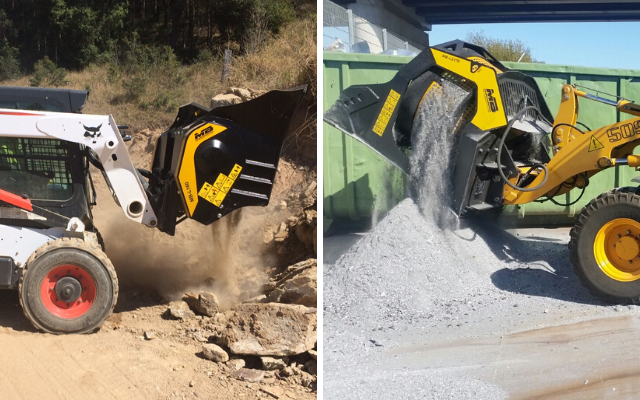 MB Crusher has designed and built machinery capable of transforming loaders, skid steer loaders, and backhoe loaders into real mobile crushing and screening plants.