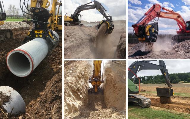 Le attrezzature MB permettono di raccogliere il materiale estratto dallo scavo, lavorarlo e frantumarlo e infine selezionarlo per poterlo riutilizzare in loco per coprire la canalizzazione.