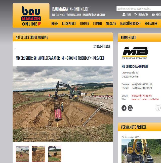 MB Crusher: Schaufelseparator im »Ground Friendly«-Projekt