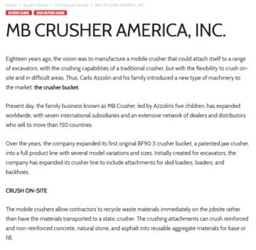 MB Crusher America, Inc