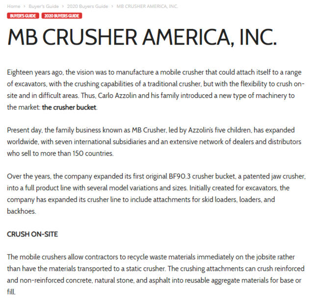 MB Crusher America, Inc