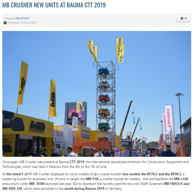 MB Crusher New Units at Bauma CTT 2019