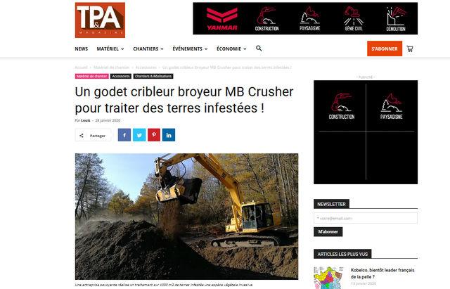 Un godet cribleur broyeur MB Crusher pour traiter des terres infestées !