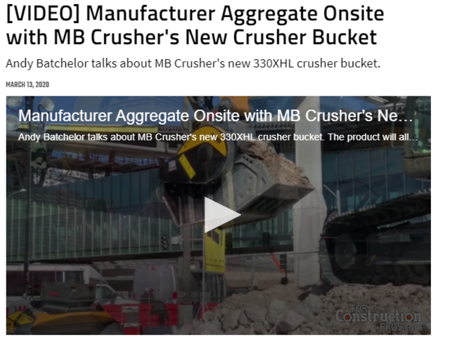 Manufacturer Aggregate Onsite with MB Crusher's New Crusher Bucket