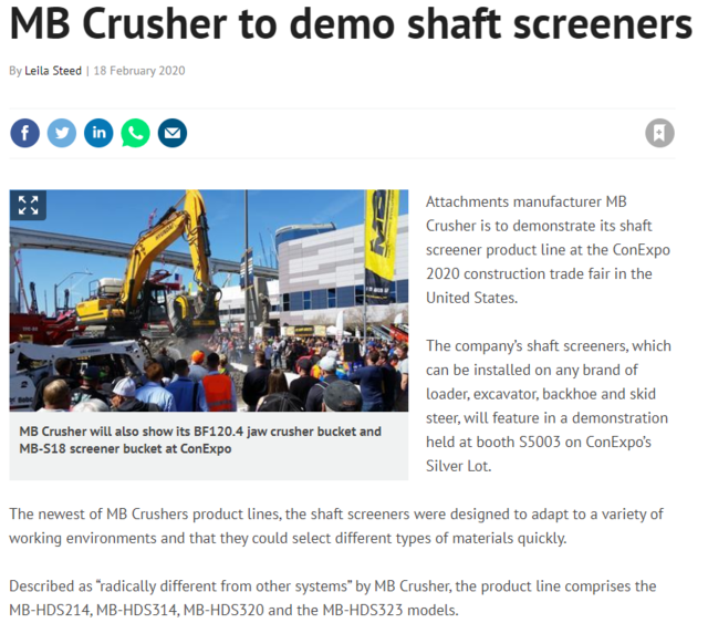 MB Crusher to demo shaft screeners