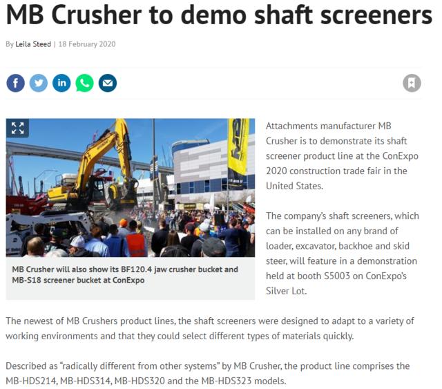 MB Crusher to demo shaft screeners