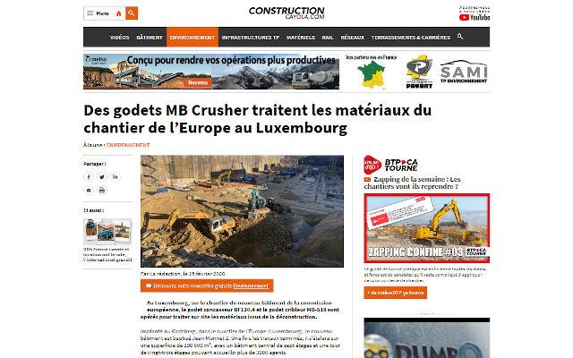 Des godets MB Crusher traitent les matériaux du chantier de l'Europe au Luxembourg