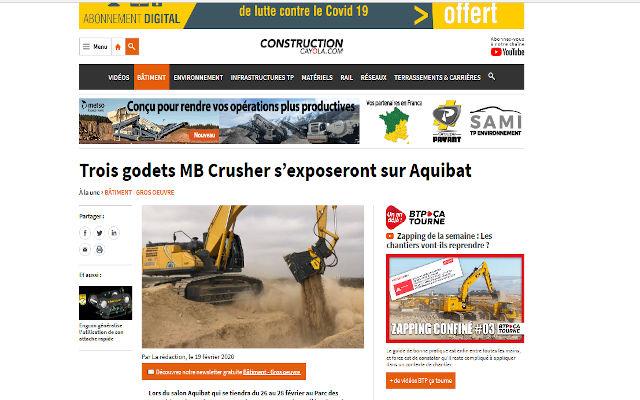 Trois godets MB Crusher s'exposeront sur Aquibat