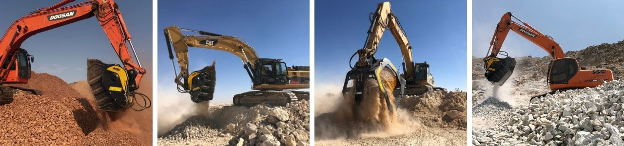 The solution to improve upon operations in quarries and mines: the MB Crusher crushing buckets and screening buckets.