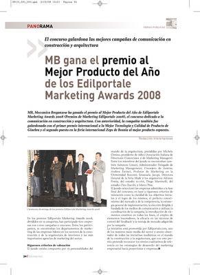 MB gana el premio al Mejor Producto del Año de los Edilportale Marketing Awards 2008