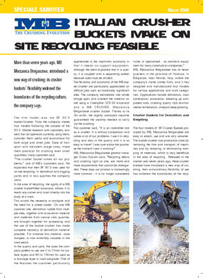 ITALIAN CRUSHER BUCKETS MAKE ON SITE RECYCLING FEASIBLE