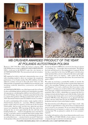MB CRUSHER AWARDED 'PRODUCT OF THE YEAR' AT POLANDS AUTOSTRADA POLSKA